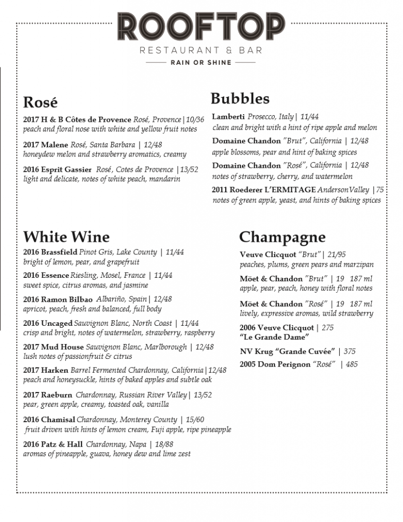Wine list part one